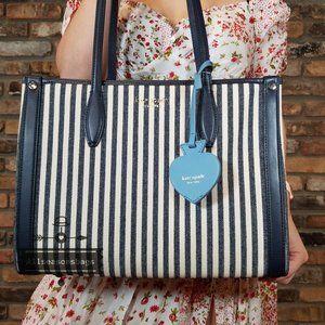 Kate Spade MEDIUM Striped BLUE Market Tote Bag